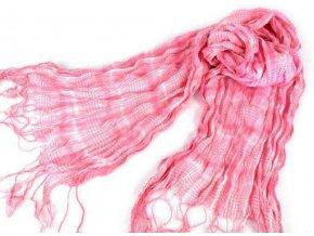Šála / šátek ST286 sv. růžová mačkaná károvaná