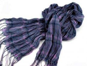 Šála / šátek ST285 fialková mačkaná károvaná