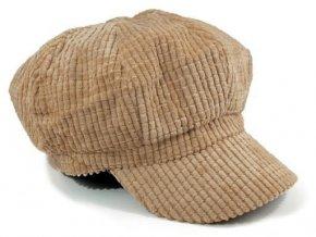 Manžestrová čepice s kšiltem - béžová 57
