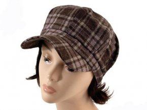 Čepice s kšiltem - hnědá kostka