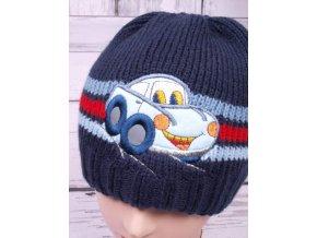 Čepice zimní teplá dvouvrstvá s autem tm. modrá