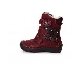 Zimní boty D.D. step 023-800 vínové bordó kožené