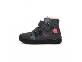 Zimní boty D.D. step 040-401 černé kožené kotníkové