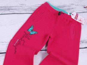 Tepláky Kugo s motýlem tm. růžové