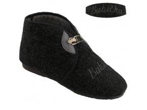 Bačkory papuče dámské Pegres 3133 důchodky vyšší s přezkou šedé BABIČKA