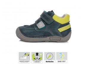 Celoroční kožené botičky obuv D.D.step 018-40 BARE FOOT modrozelené