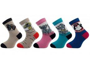 Ponožky Novia růžové s kočičkou
