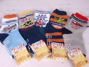ponožky s protiskluzem ABS bagr, hasiči .. mix vzorů 3778