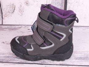 Zimní boty sněhule Junior League 3769 voděodolné šedočerná / fialková