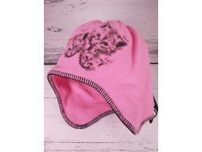 Čepice RDX 3264 zimní flísová sv. růžová kočky