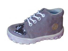 Celoroční obuv botičky JONAP 022M kožené fialové / kočka 3668