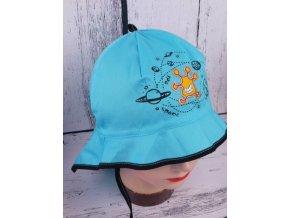 Klobouček klobouk RDX 7428 tyrkys lehký vázací s krytím krku