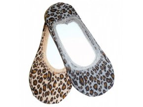 Ťapky Novia bavlněné šedé leopard 3469