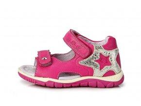 Kožené sandálky K330-16 tm. růžové sandály 3337