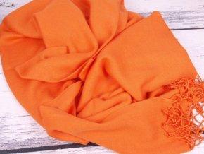 Pašmína pléd šála jasně oranžová CR2896