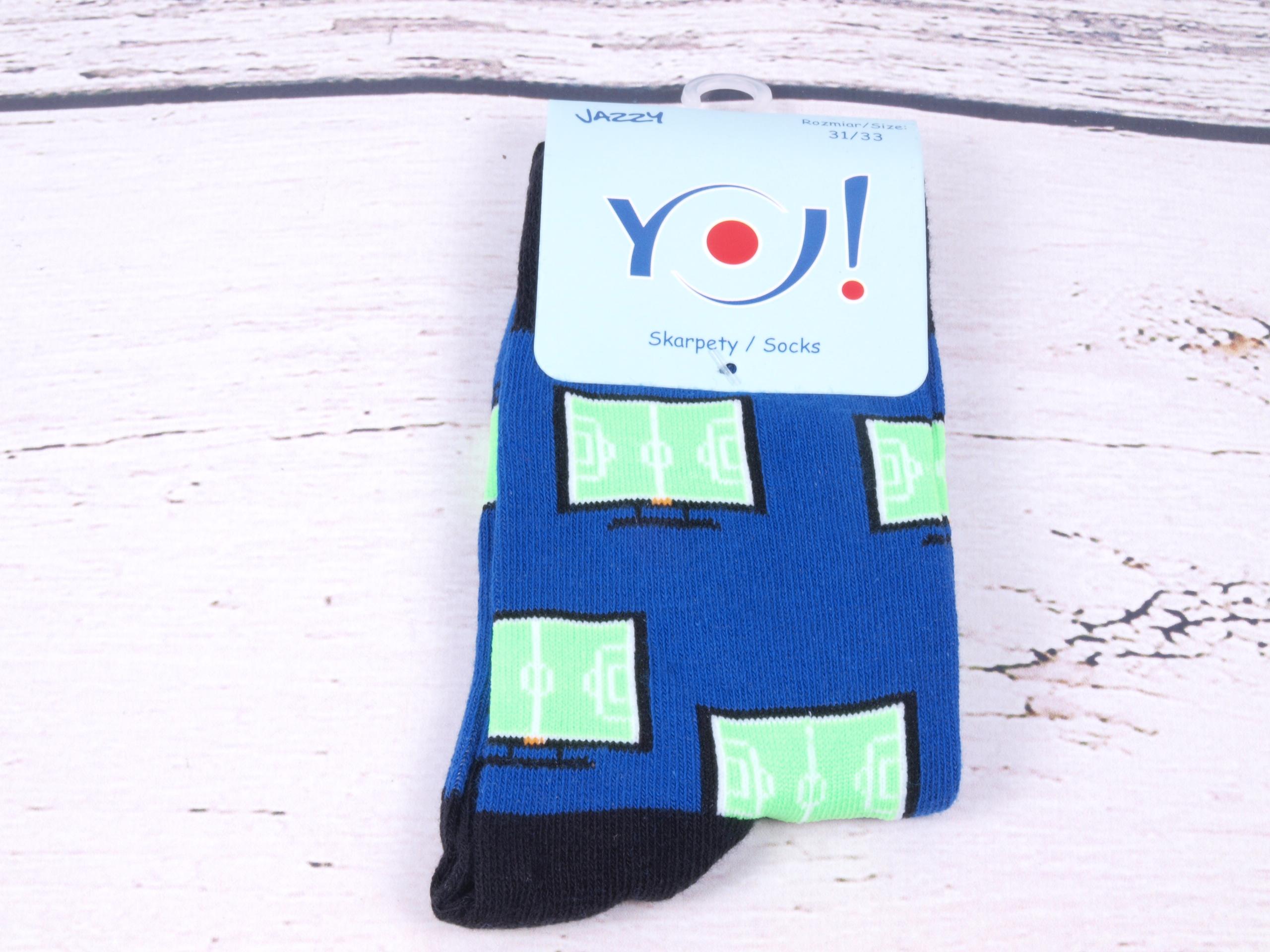 Ponožky YO Jazzy modrozelené s monitory velikosti ponožek: 22-23,5 ( EUR vel. 34-36)
