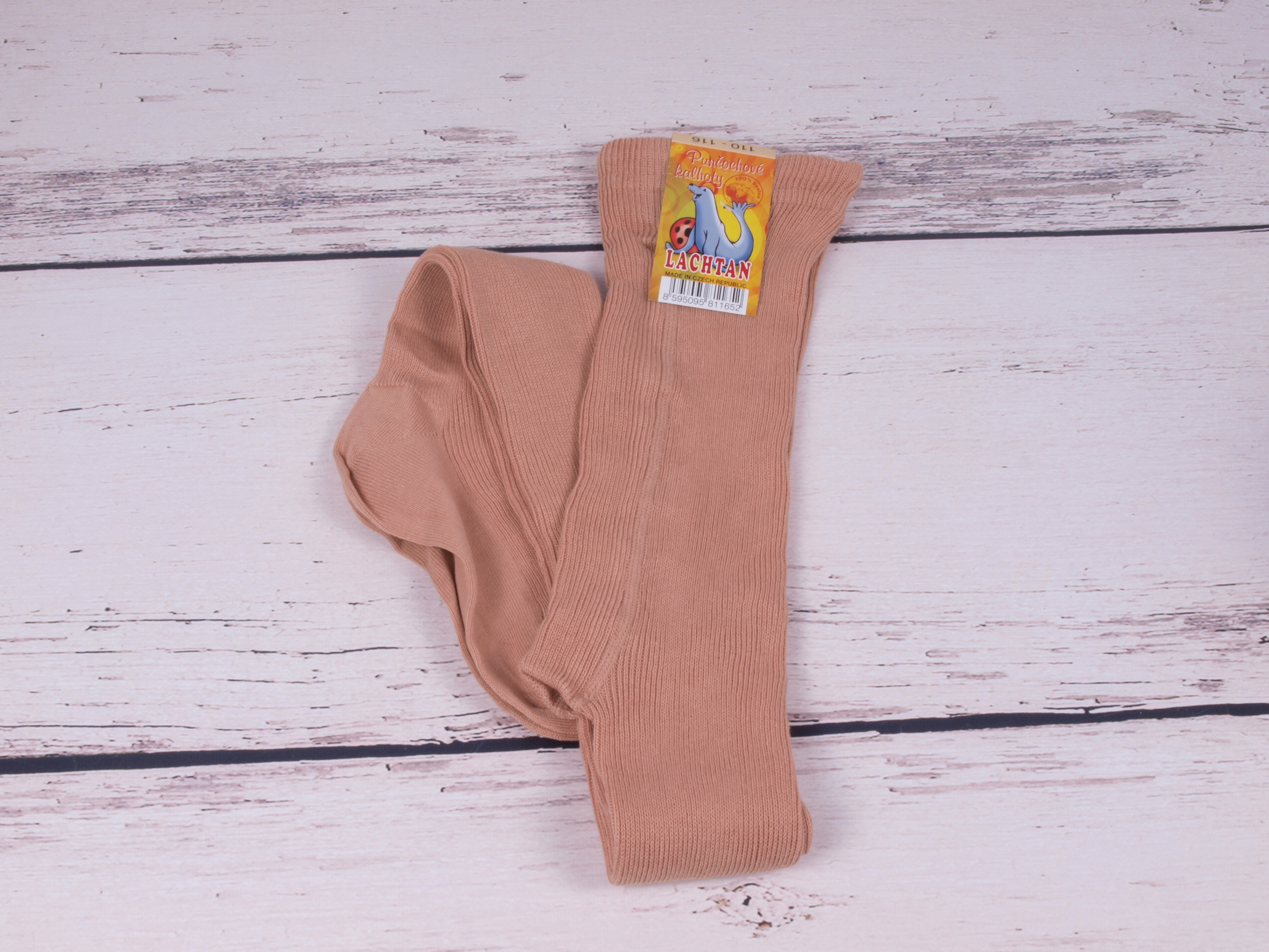 Punčocháče Dotex Lachtan žebrované 100% bavlna béžové velikost oblečení - děti: 110/116