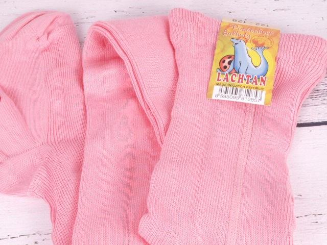 Punčocháče Dotex Lachtan žebrované 100% bavlna růžové vhodné pro alergiky atopiky velikost oblečení - děti: 52/56