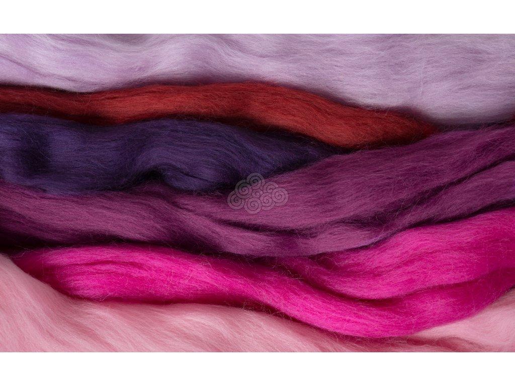 Sada na plstění FIALKY, Mix 6 barev 100g