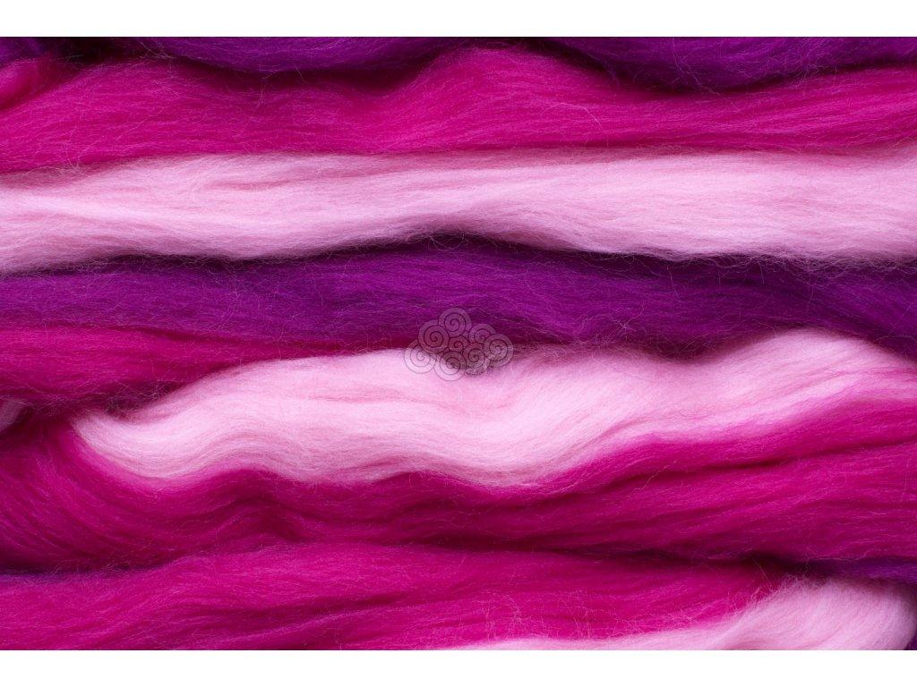 Merino melírované duhové - růžová