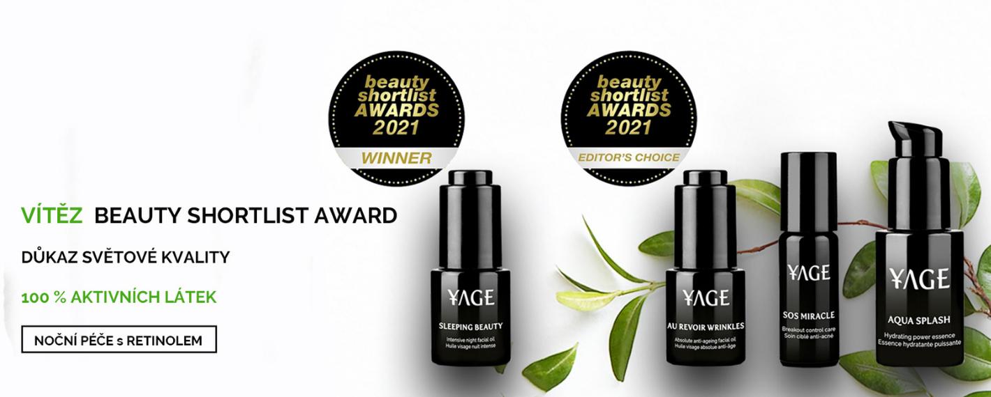 Yage Organics vítěz Beuaty Shortlist Award