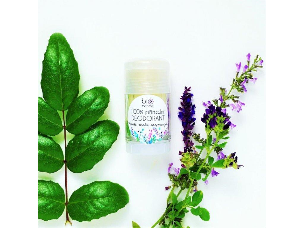 BIORYTHME 100% přírodní tuhý deodorant Pačuli, máta, rozmarýn