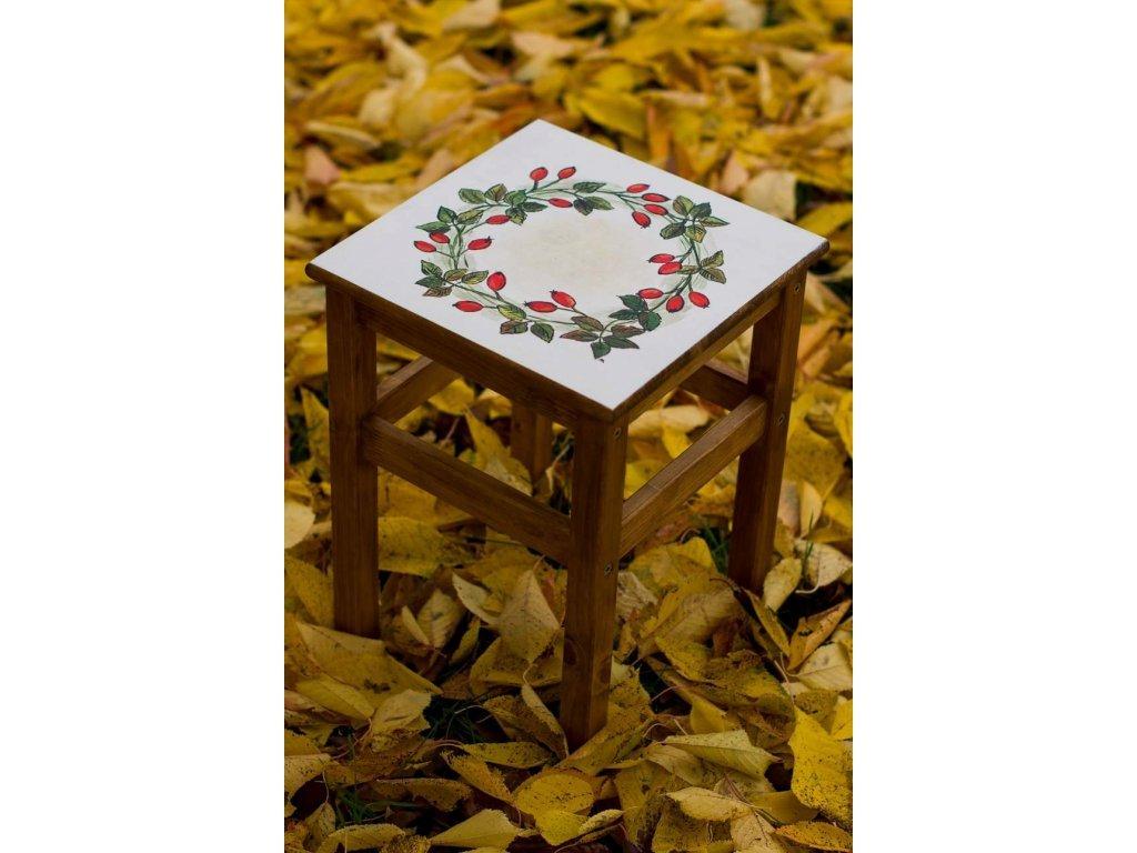 Ručně malovaná dřevěná stolička motiv šípek 1