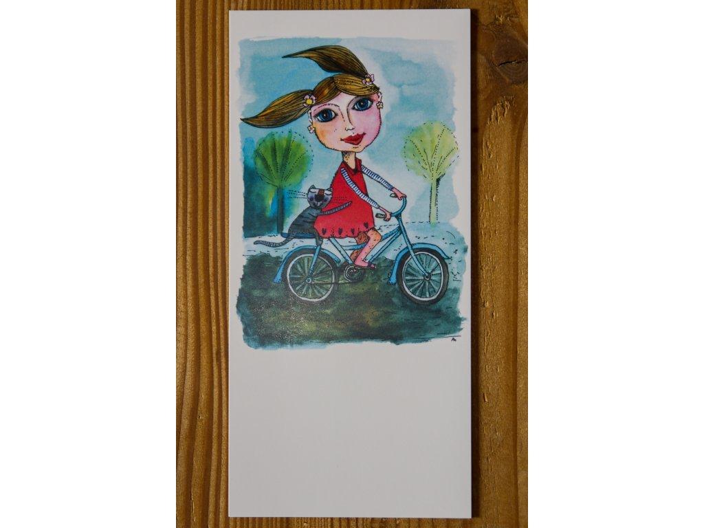 """Blahopřání, papírová gratulace """"Cyklistka"""""""