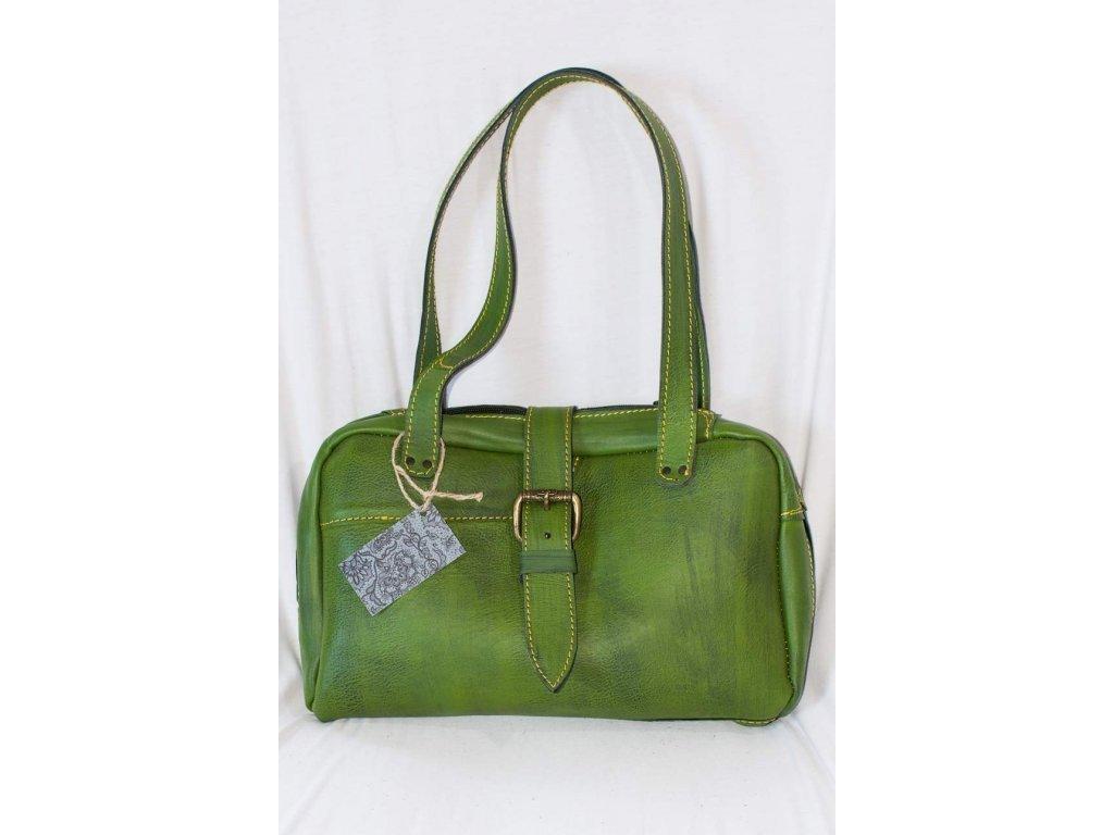 Dámská kabelka z přírodní kůže na zip, výška ucha 27 cm, zelená