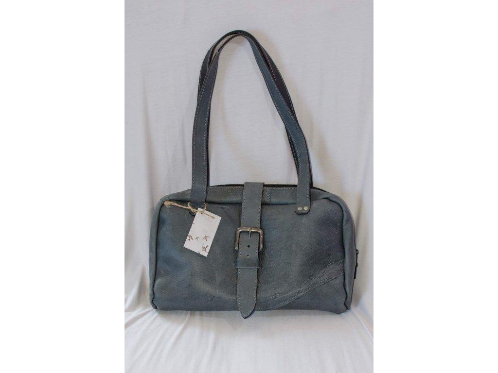 Dámská kabelka z přírodní kůže na zip, výška ucha 30 cm, šedá