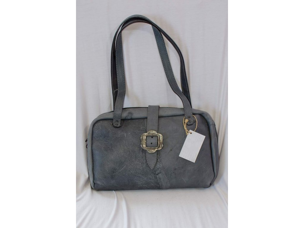 Dámská kabelka z přírodní kůže na zip, výška ucha 32 cm, šedá