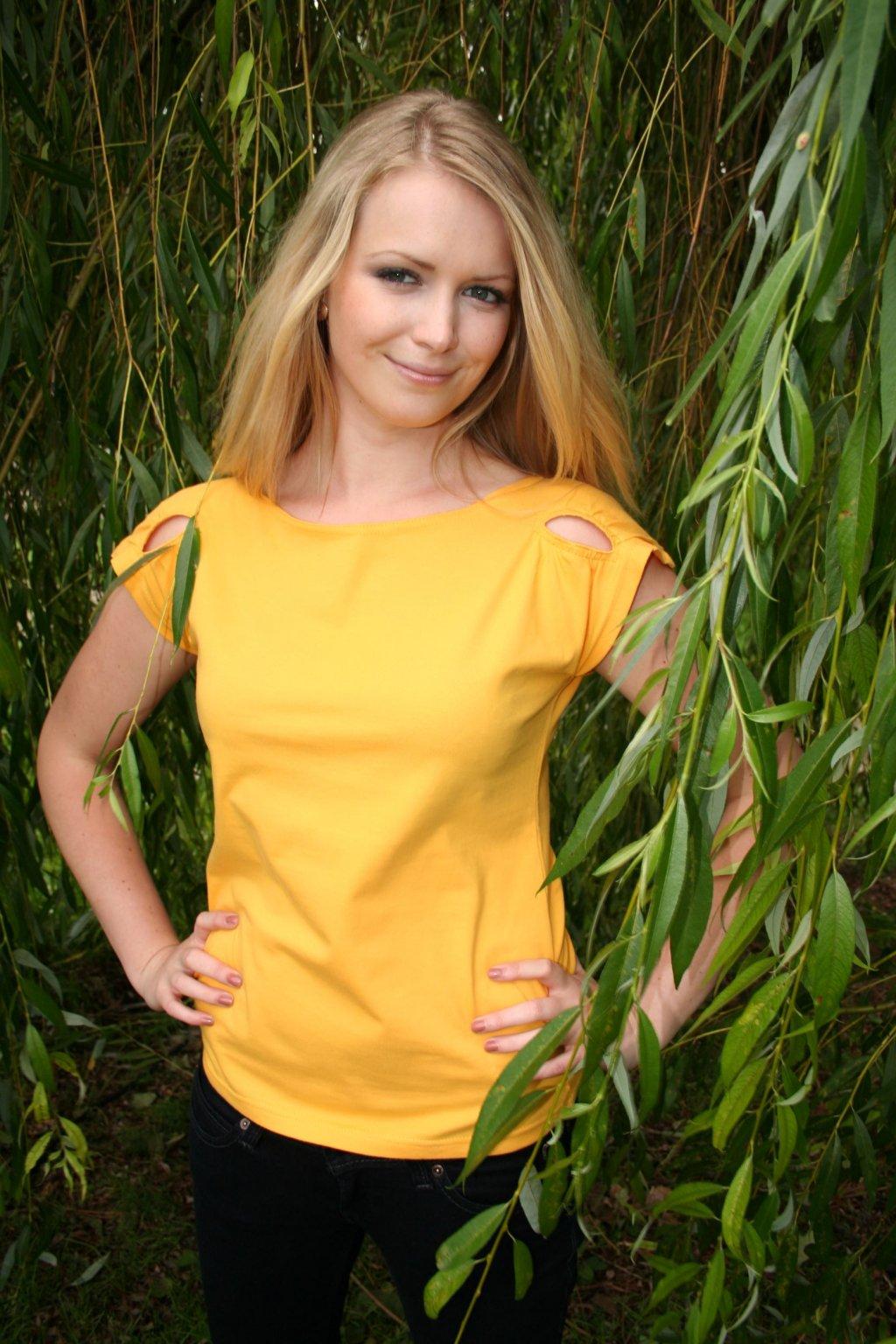 biobavlněné triko žlutá