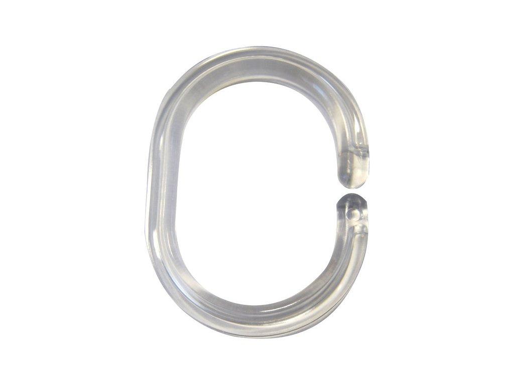 Kroužky na závěs 12 ks, plast, průhledná 49300