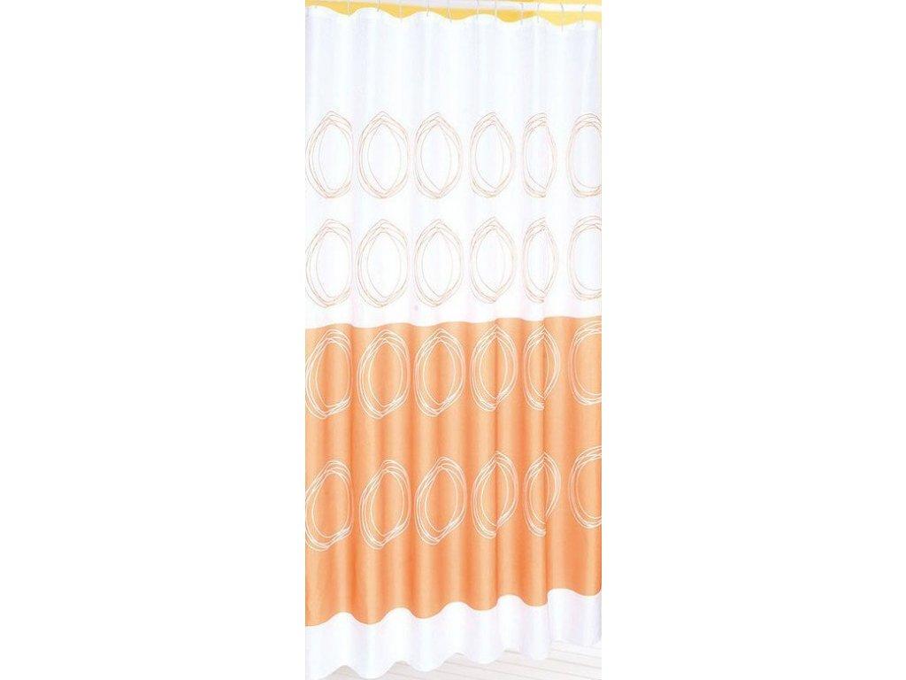 Závěs 180x180cm, 100% polyester, bílá/oranžová   (16474)