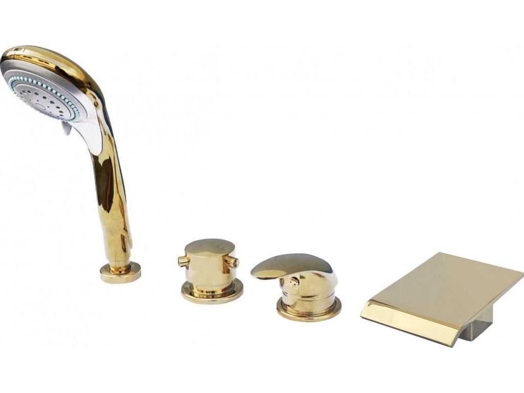 Slezák Rav Baterie vanová stojánková čtyřotvorová s keramickým přepínačem, samonavíjecí 2m hadicí a sprchou – zlato D473.5PZ