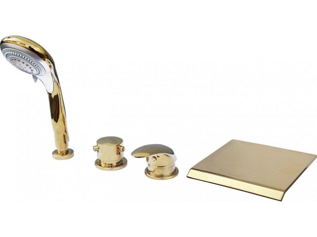 Slezák Rav Baterie vanová stojánková čtyřotvorová s keramickým přepínačem, samonavíjecí 2m hadicí a sprchou – zlato D474.5PZ