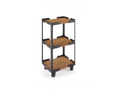 Lineabeta Careto Pojízdný vozík s poličkami, hliník, bambus, 5450.18
