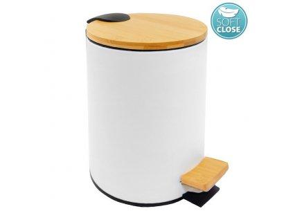 BAMBUS odpadkový koš kulatý 5l, bílá BI007