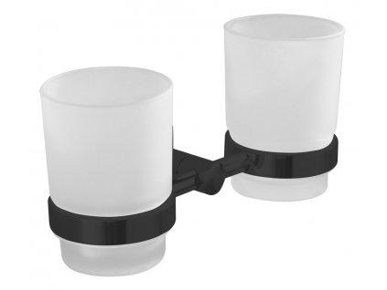 SAMBA dvojitý držák skleniček, mléčné sklo, černá SB205