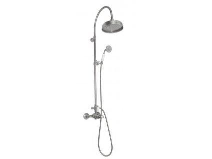 ANTEA sprchový sloup k napojení na baterii, hlavová a ruční sprcha, nikl SET038