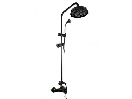 Slezák Rav Labe vodovodní baterie sprchová s hlavovou a ruční sprchou černá matná/zlato L581.5/3CMATZ