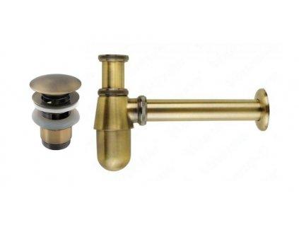 Set umyvadlový sifon a výpust klik klak bronz