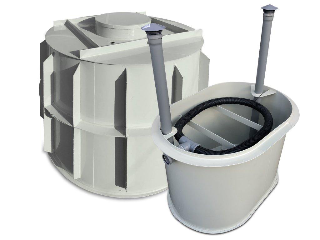 samonosný tříkomorový septik s pískovým filtem pro 2 osoby