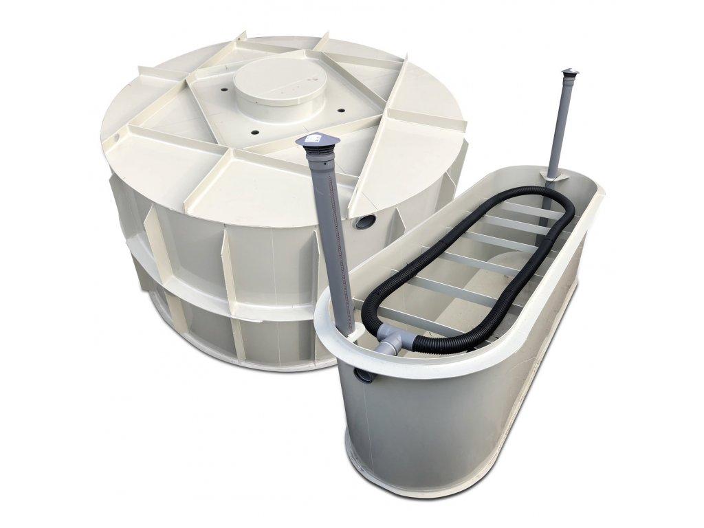 samonosný tříkomorový septik s pískovým filtem pro 4 osoby