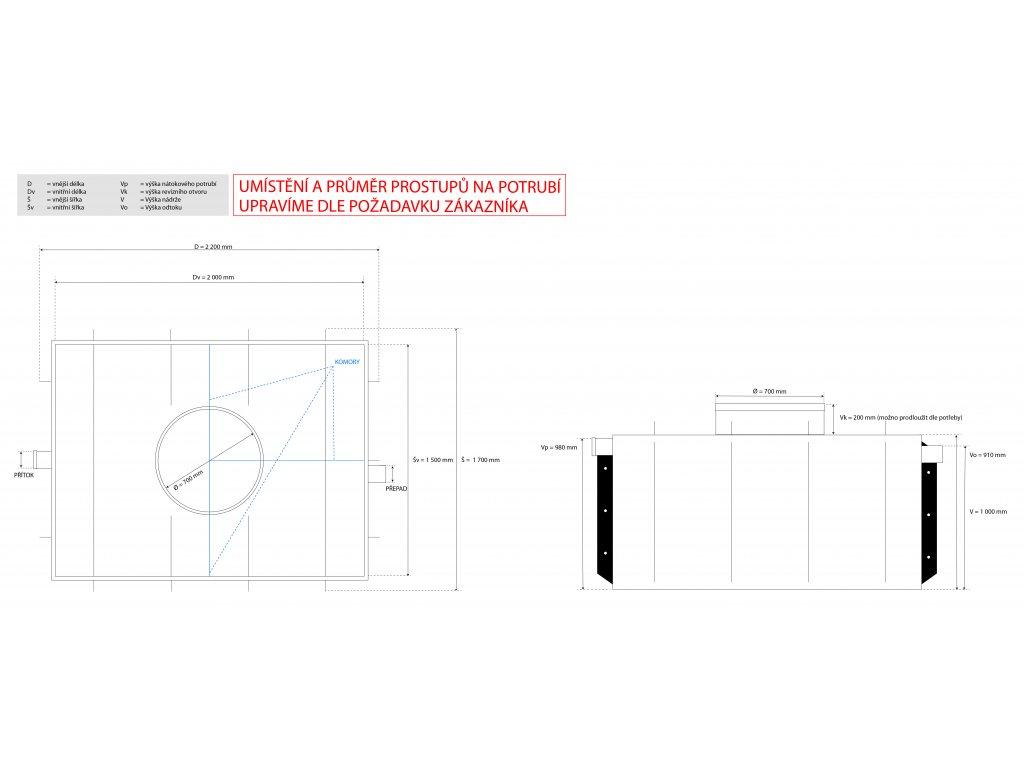 3m3 hranatý septik k obetonování