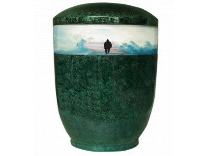 urna zelena pasek schody do nebe