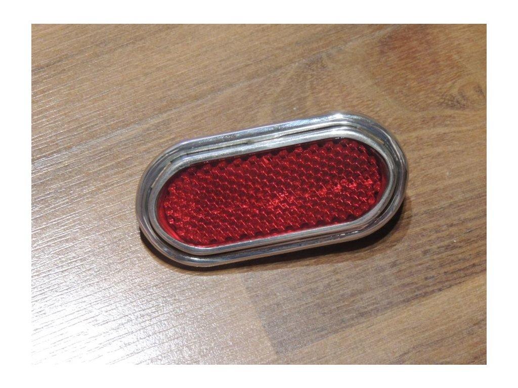 Odrazka oválná - červená, 92x45mm ( UNI ) se šrouby