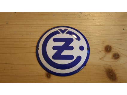 Logo ČZ -  kulaté, modré 120 mm, smalt
