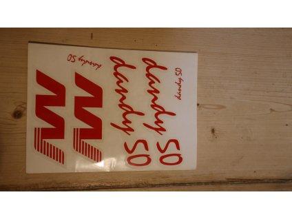Nálepka DANDY 50 arch - červená (Jawa 50 Dandy)