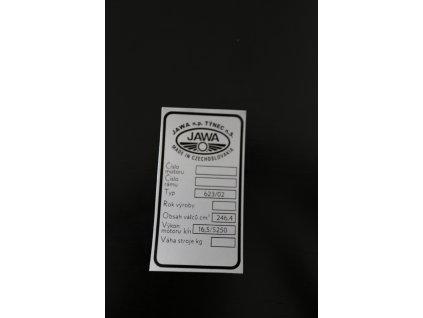 Štítek typový Jawa Bizon (250 623/02)